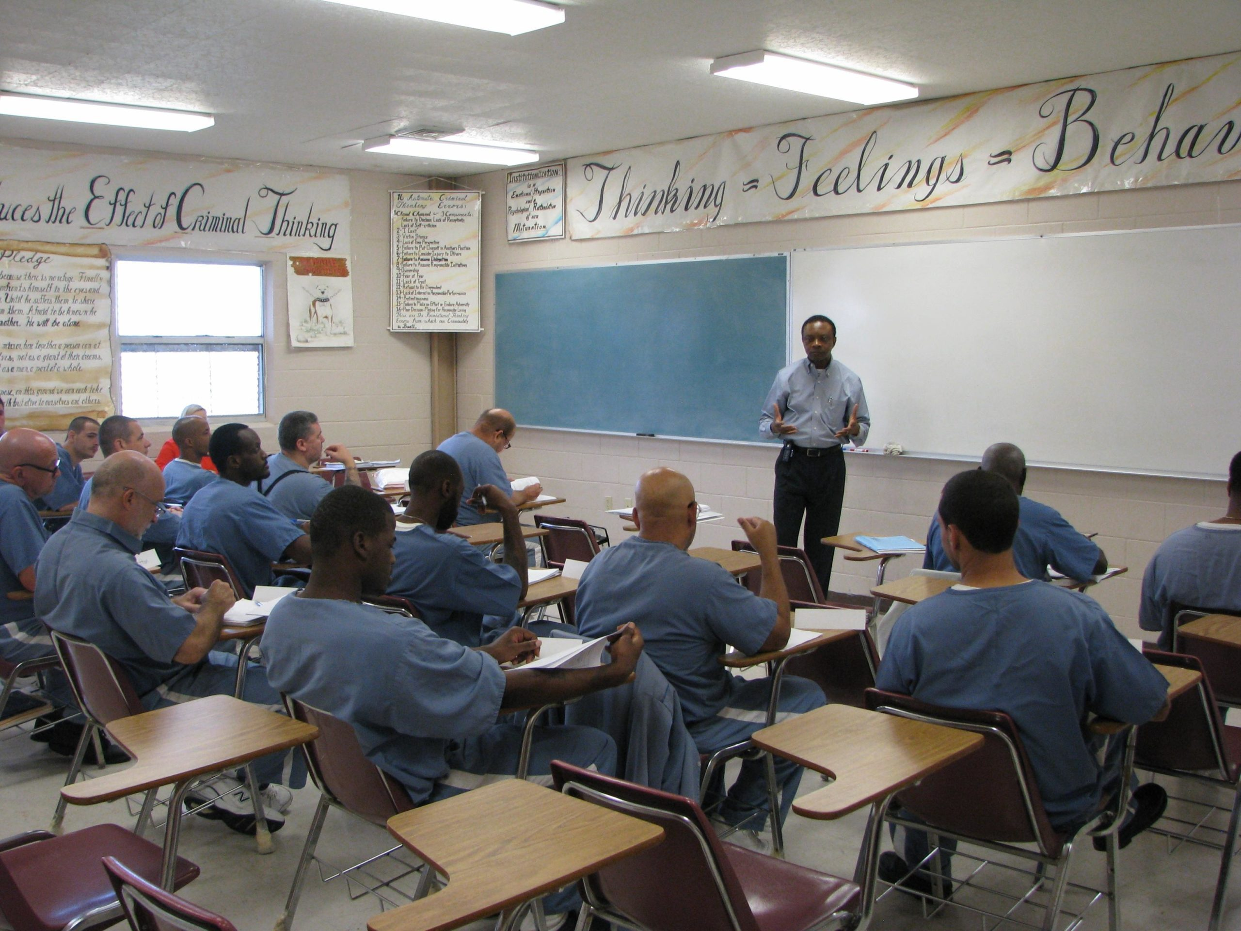 Jean Kabongo gives a lecture on entrepreneurship at the Hardee Correctional Institution