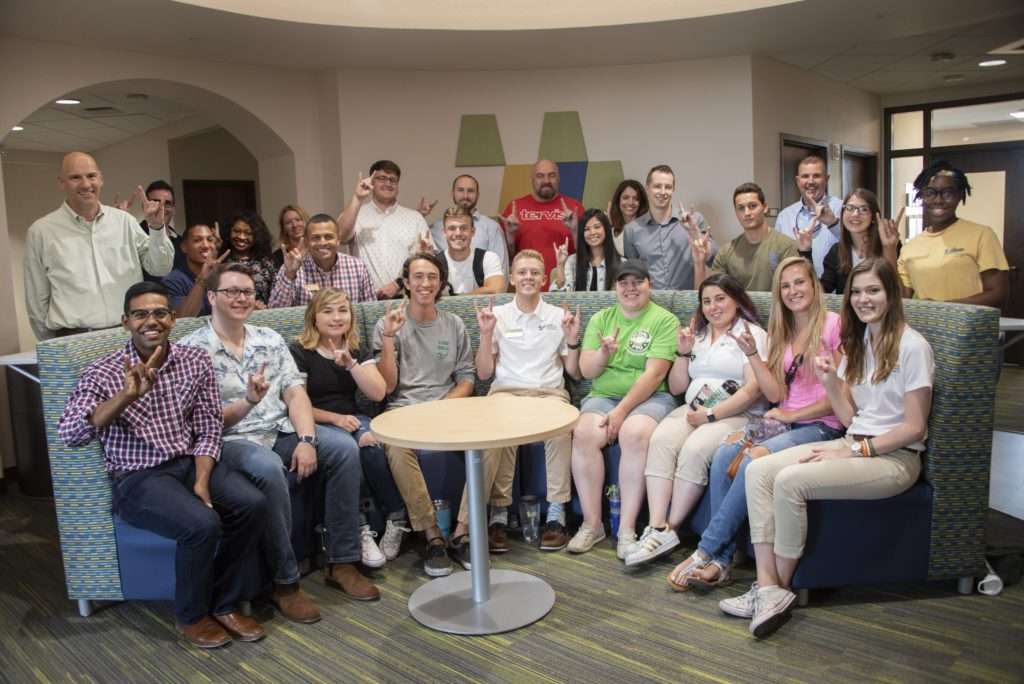 USF Sarasota-Manatee campus students pose for a picture