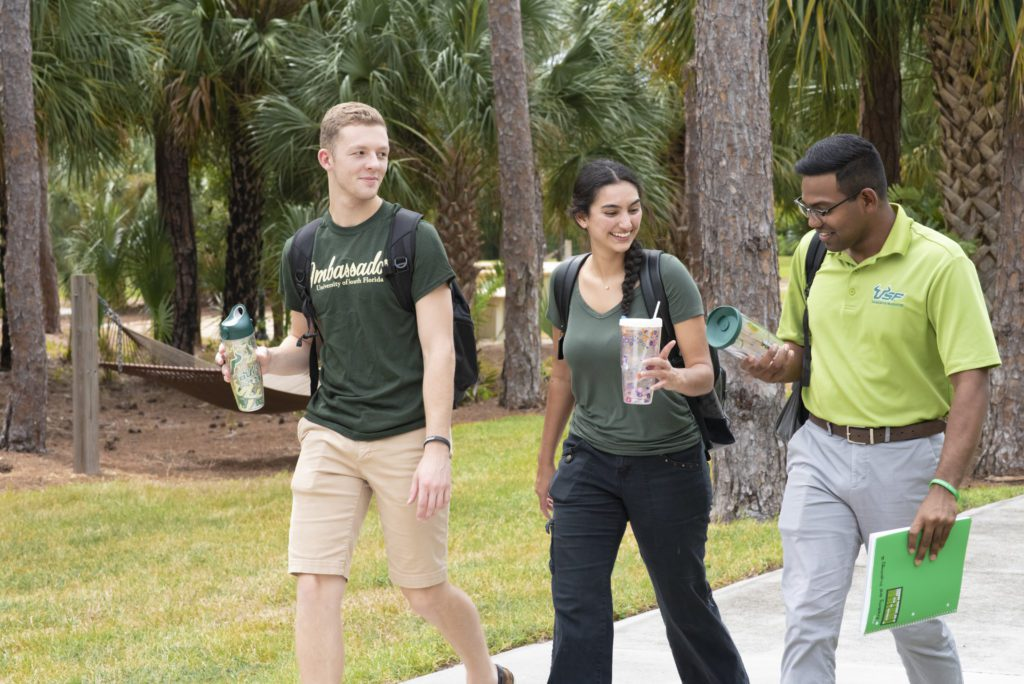Three USF Sarasota-Manatee campus students walk on campus