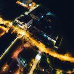 An illuminated street at night